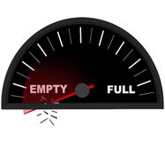 Running on Empty - Fuel Gauge Royalty Free Stock Photo