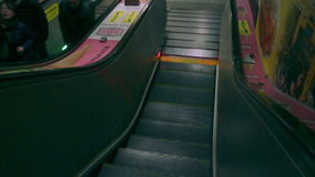 Running Escalator at Taipei Metro East Gate Station. HD. Taipei, Taiwan, ROC- February 09, 2015: Taipei Metro East Gate Station Close up of the Escalator stock video footage