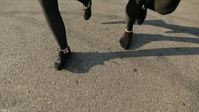 Running in the Evening. Low angle cropped view of joggers feet running on asphalt path on sunset time stock video