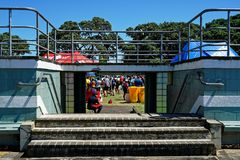 A running event at Devonport Windsor reserve, Auckland, New Zealand stock photography