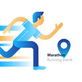 Running event, marathon participation, rushing man, person in motion Royalty Free Stock Photo