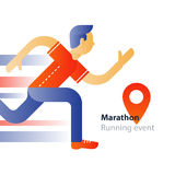 Running event, marathon participation, rushing man, person in motion. Marathon event, running man, sport race, person in motion, triathlon athlete, abstract Stock Photo