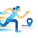 Running event, marathon participation, rushing woman in motion. Marathon event, running woman, sport race in motion, triathlon athlete, abstract cartoon, vector Stock Images