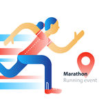 Running event, marathon participation, rushing woman in motion. Marathon event, running woman, sport race in motion, triathlon athlete, abstract cartoon, vector Royalty Free Stock Photo