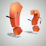 Running an exclamation point and question mark. The exclamation point and question mark are arguing with each other vector illustration