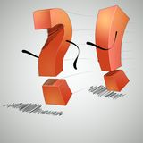 Running an exclamation point and question mark. The exclamation point and question mark are arguing with each other royalty free illustration
