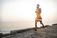 Running Exercise Training Healthy Lifestyle Beach Concept Royalty Free Stock Photo