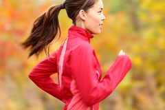 Running in Fall. Runner woman jogging in autumn forest. Beautiful young fit fitness sport model jogging with slight motion blur. Mixed race Caucasian / Asian stock image