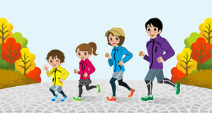 Running Family in the Autumn park-EPS10 vector illustration