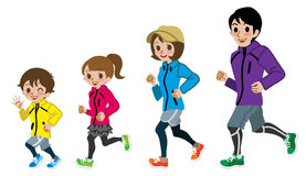 Running Family Isolated. Vector illustration of Running Family, Isolated vector illustration