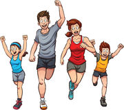 Running family. Family of runners. Vector clip art illustration with simple gradients. Each on a separate layer vector illustration
