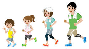Running Family, Short sleeve Royalty Free Stock Images