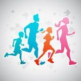 Running Family. Vector illustration of a family running exercise royalty free illustration