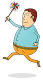 Running fat man with propeller Royalty Free Stock Photography