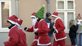 Running Father Christmas Stock Image