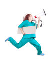 Running female doctor with megaphone and banner Stock Images
