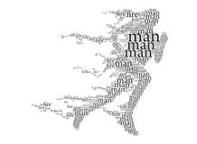 Running, fiery man, b & w - calligraphy and text. Calligraphic image of running, a burning man Royalty Free Stock Images