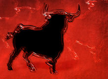 Running fighting bull. Black fighting bull illustration with glowing red bull silhouettes in the background Stock Photo