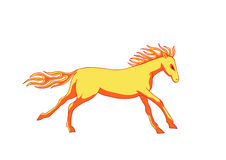Running fire horse. Vector illustration of running fire horse on white background Stock Photography