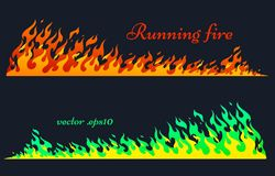 Running fire, vector flame elements. Running fire horizontal planks. Flaming bars, old school flame elements, isolated vector illustration, two variants of Royalty Free Stock Photo