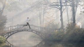 Running on the foggy morning