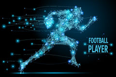 Running footballer polygonal. Abstract running footballer with cybernetic particles. Polygonal digital background. Point and curve constructed the football royalty free illustration
