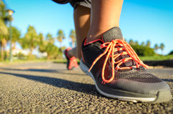 Running footwear on outdoor summer training Stock Image