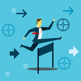 Running fore. Businessman running and jumping over obstacles in work. Concept business  illustration. All of the situation in office, unique life of worker Stock Images