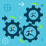 Running fore. Businessman team running in a gear the company towards success. Concept business  illustration. Royalty Free Stock Photo