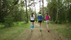 Running in a forest stock footage