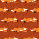Running fox seamless brown background Royalty Free Stock Images