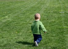 Running free. Small child runs through the grass stock photo