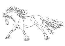 Running friesian horse sketch vector illustration