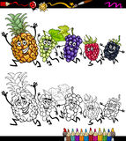 Running fruits cartoon coloring page Stock Photos