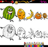 Running fruits cartoon coloring page Royalty Free Stock Image