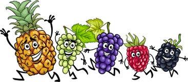 Running fruits cartoon illustration Stock Photos