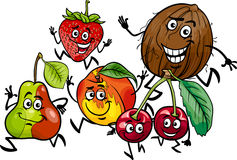 Running fruits group cartoon illustration Stock Photography