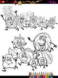 Running fruits set cartoon coloring page Stock Photo