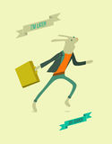 Running funny cartoon rabbit. Vector illustration. Stock Images