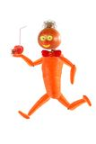 Running funny little man made from fruits and v Royalty Free Stock Photography