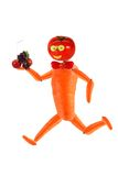 Running funy man made from fruits and vegetables Royalty Free Stock Images