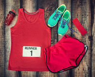 Running gear ready for race day Stock Image