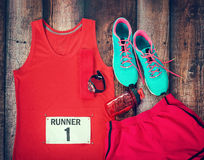 Running gear ready for race day Royalty Free Stock Image
