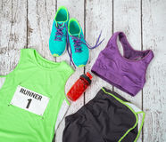 Running gear ready for race day Royalty Free Stock Photos