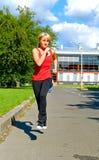 Running girl stock photo