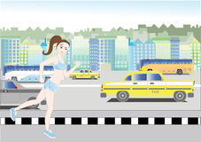 Running girl. Vector illustration of a girl running in the city stock illustration