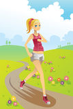Running girl. A vector illustration of a girl running in a park Stock Images