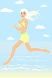 Running girl. Vector picture of cartoon girl in the sea Stock Photos