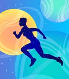 Running girl athlete in space, fantasy vector art. Strength, health, call to action and activity. Running woman athlete in space, fantasy vector art. Strength royalty free illustration