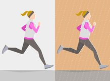 Running girl. Autumn trainings. Running girl dressed in autumn clothes, on gray background and background with autumn seasonal elements. Running at any season Stock Image